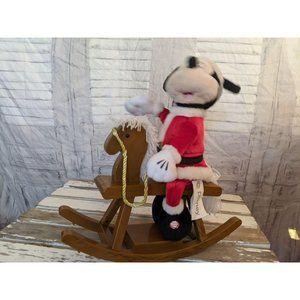 Gemmy Mickey mouse rocking horse Xmas decor animat